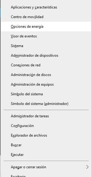 cómo ajustar opciones energía Windows 10