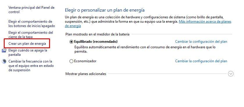 Crear un plan de energía en Windows 10
