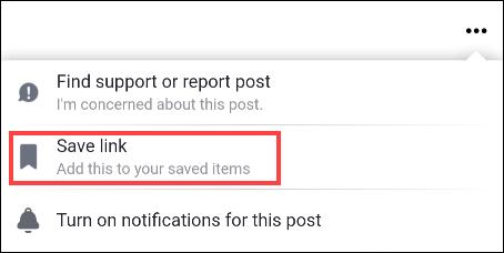 Guardar una publicación de Facebook