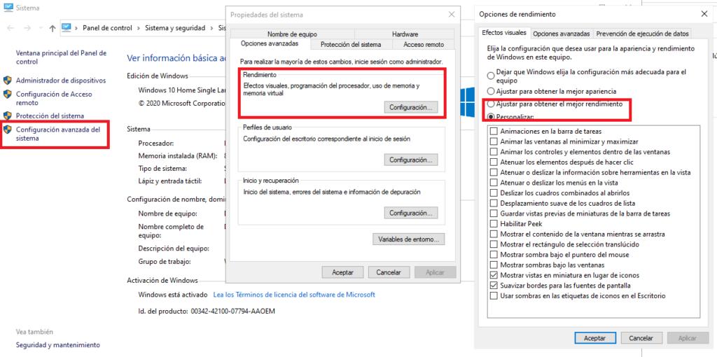 Desactivar efectos para obtener un mejor rendimiento en Windows 10