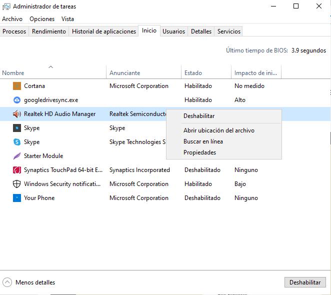 Acelerar Windows 10 cerrando programas