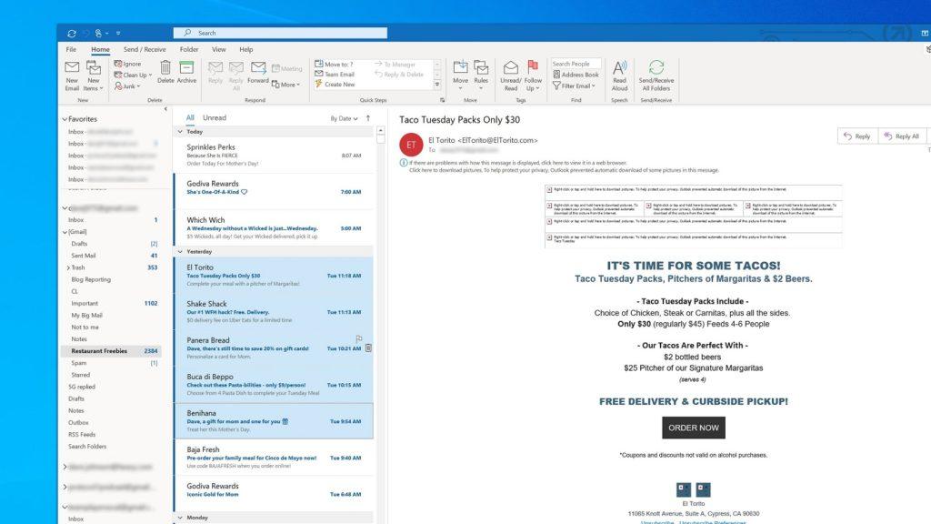 eliminar correos fecha Outlook 2