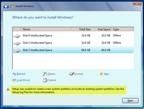 Programa de instalación Windows no puede crear nueva partición