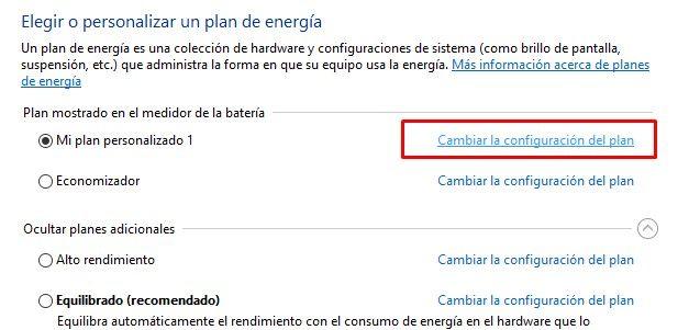 Cambiar configuración del plan de energía en Windows 10