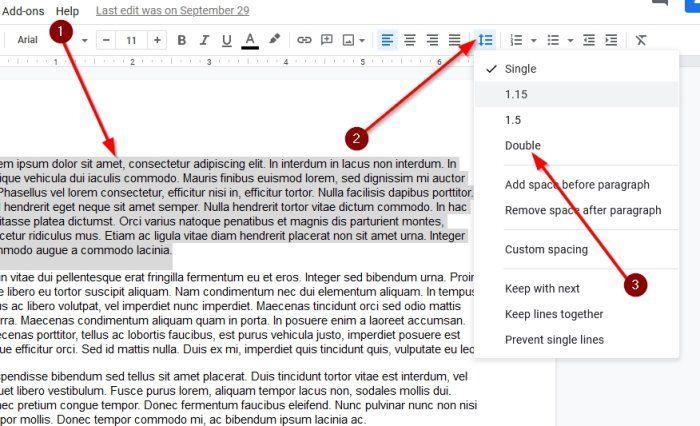 Cómo usar el espacio entre párrafos de Google Docs