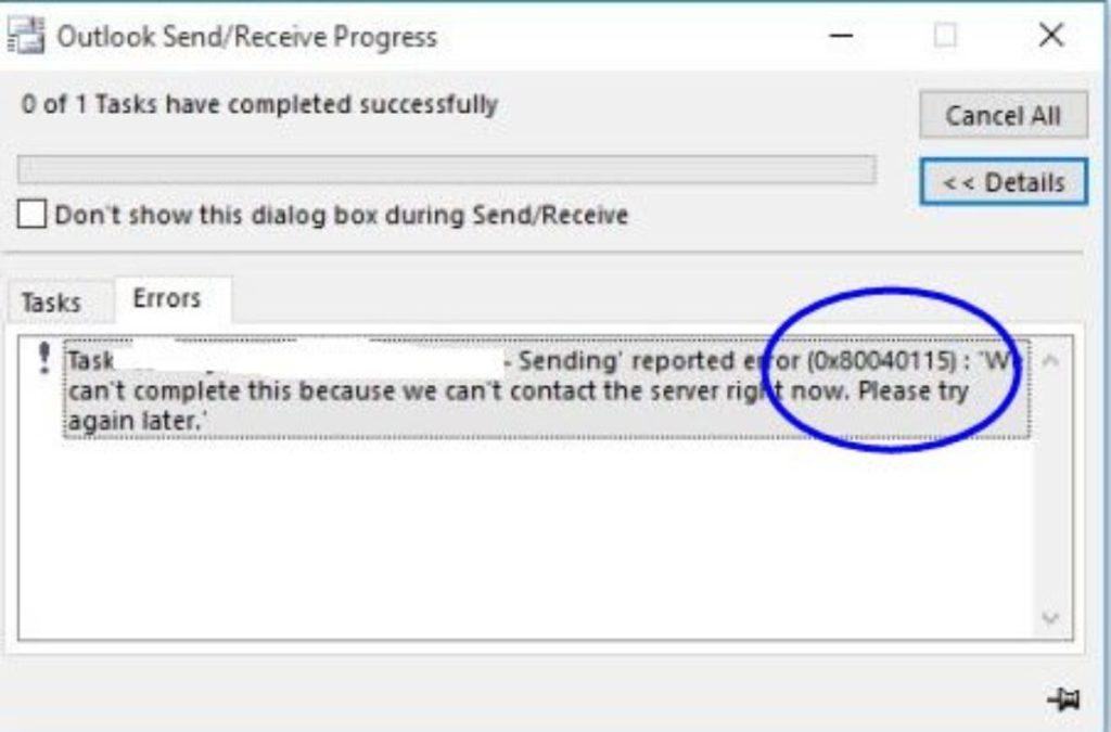 Cómo reparar el error 0x80040115 de Outlook 2