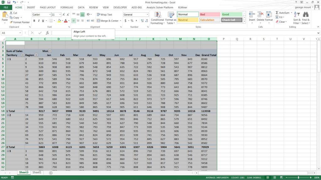 alinear páginas impresas Excel 2
