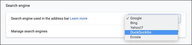 Définir DuckDuckGo par défaut dans Chrome