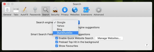 Configurez n'importe quel moteur de recherche dans Safari.