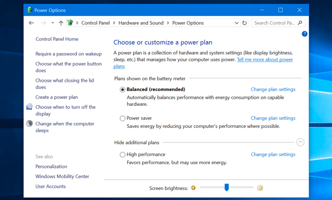 Modify screen brightness from Windows control panel