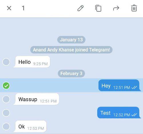 Editar mensajes enviados de Telegram en Android