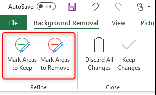 Remove background manually Excel