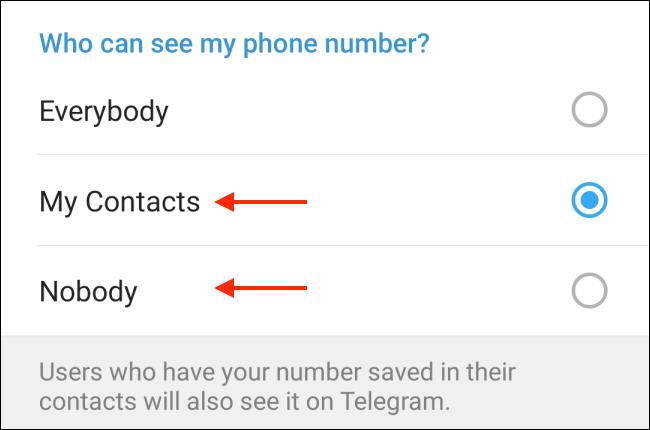 Hide or hide my phone number in Telegram
