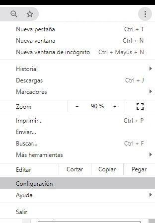 Acceder a la configuración de Google Chrome