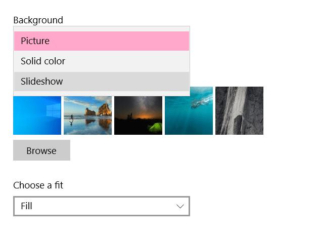 Cómo habilitar presentación de diapositivas como fondo en Windows 10