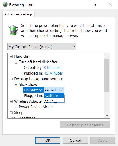 Activar la presentación de diapositivas cuando la portátil está con batería.