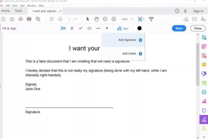 Cómo agregar mi firma a un documento PDF en Windows 10.