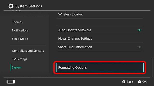 Aquí podemos encontrar la opción para formatear, reiniciar o restablecer Nintendo Switch.