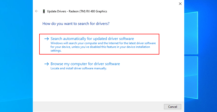 Buscar la actualización de los controladores en Windows 10.
