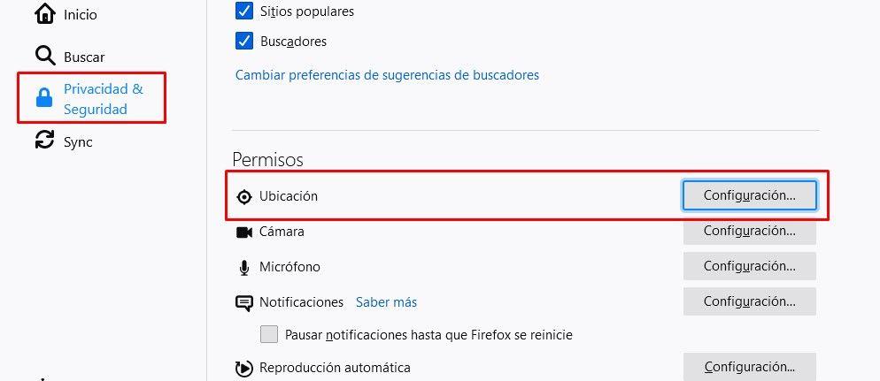 Ingresar a privacidad y seguridad en Firefox
