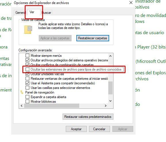 Ocultar o mostrar extensiones de archivos conocidos en Windows