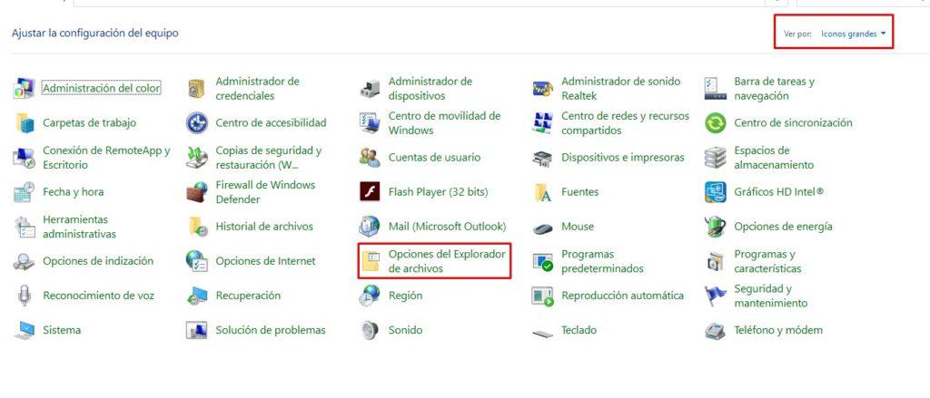 Opciones del explorador de archivos de Windows.