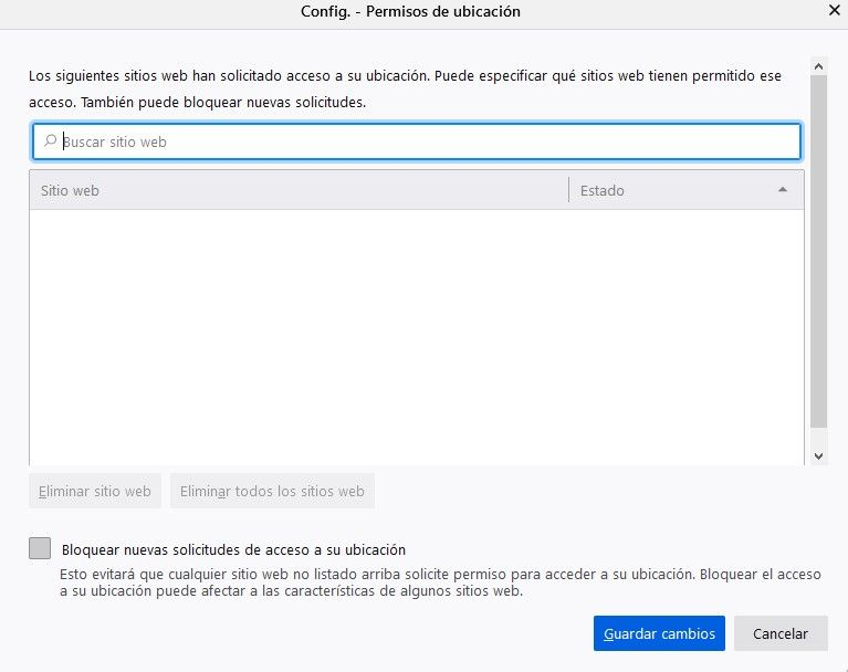 Permisos de ubicación en Mozilla Firefox.