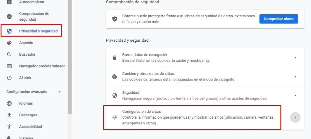 Privacidad y seguridad de Google Chrome, Configuración de sitios.