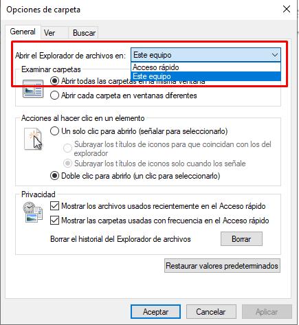 Menú desplegable de abrir el explorador de archivos en este equipo.