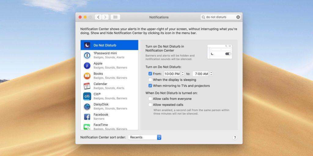 activar No molestar Mac 2