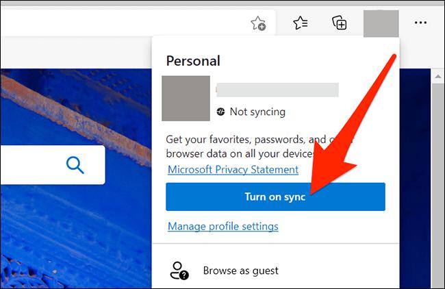 Sincronización de cuenta en Microsoft Edge.