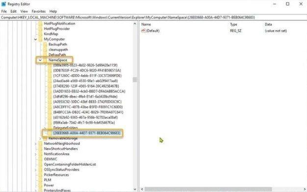 Editar el registro de Windows para añadir el panel de control al explorador de archivos.