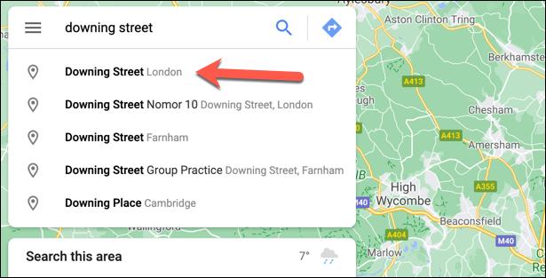 Usamos la barra de búsqueda para poner un marcador en el mapa.
