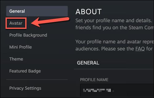 Elegimos la opción de avatar.