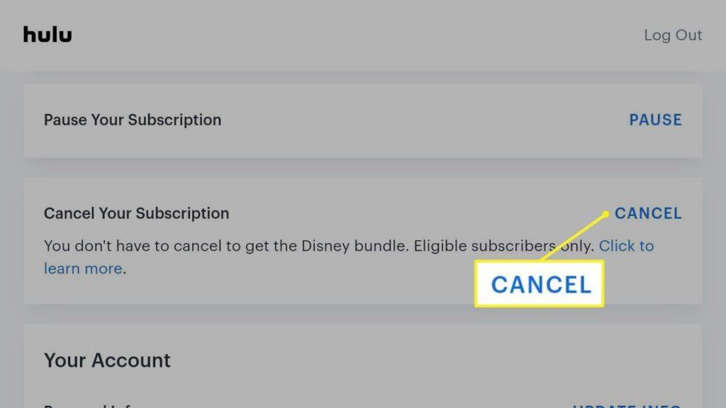 cancelar suscripción Hulu 3