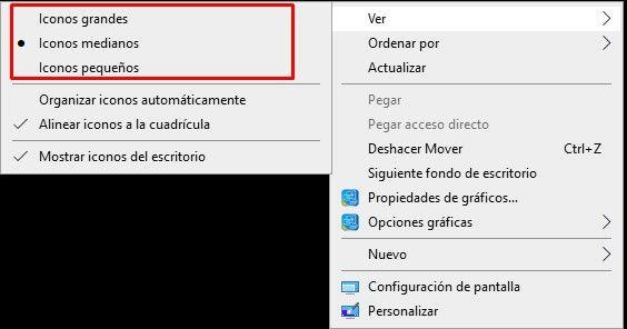 Cómo hacer los iconos más pequeños o grandes en el escritorio de Windows 10.