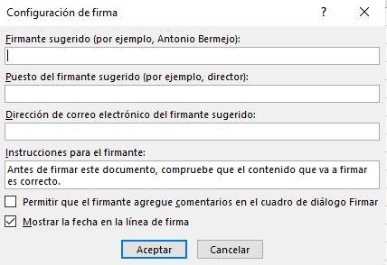 Configurar línea de firma en Excel.