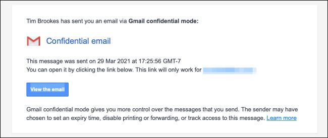 Ejemplo de correo confidencial o privado.
