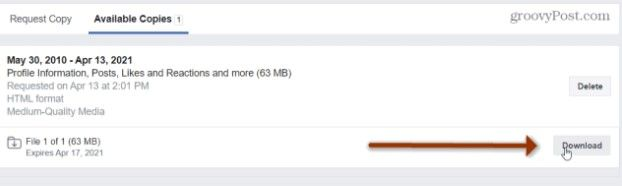 Descargamos el archivo de seguridad de nuestro perfil.