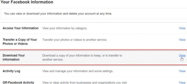 Descargar copia datos Facebook
