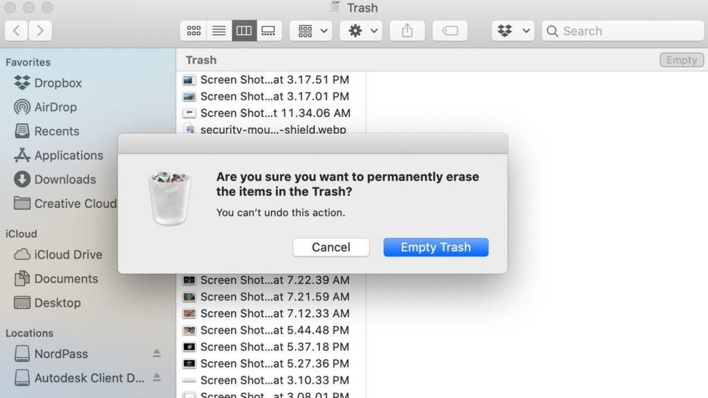 eliminar advertencia Papelera Mac 2