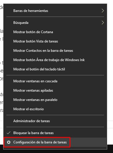 Configuración de la barra de tareas.