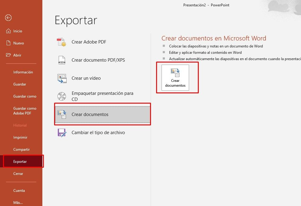 Exportar para enviar a Microsoft Word.