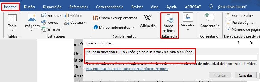 Cómo poner vídeo de YouTube en Word.