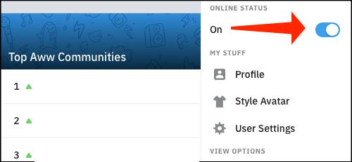 Aquí podemos ocultar nuestro estado en línea en Reddit.
