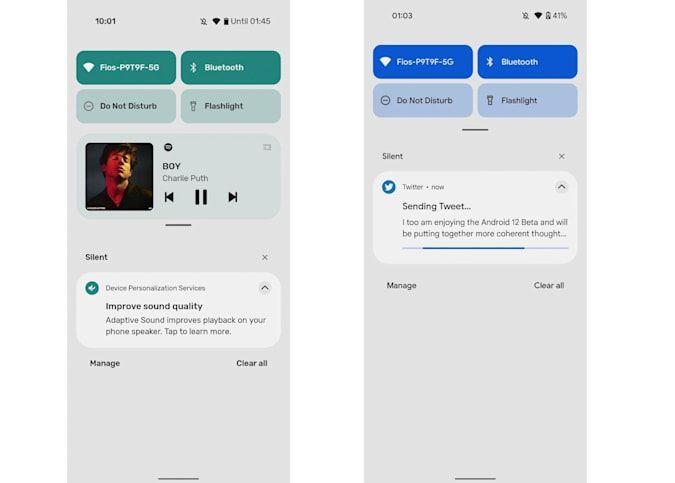 Configuración rápida de Android 12 Beta.