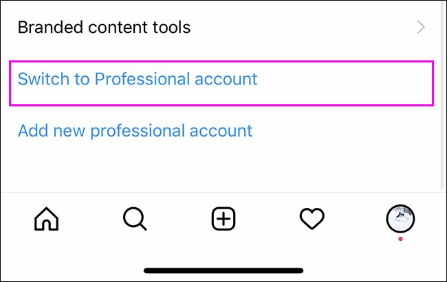 Cambiar a cuenta profesional o comercial en Instagram.