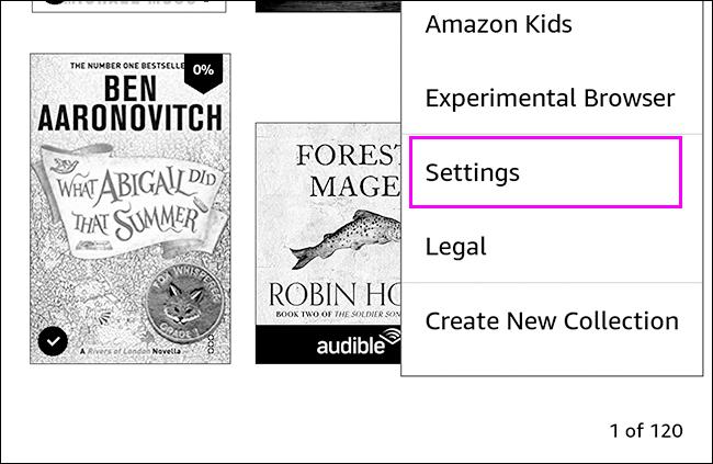 Configuración para restablecer Kindle.