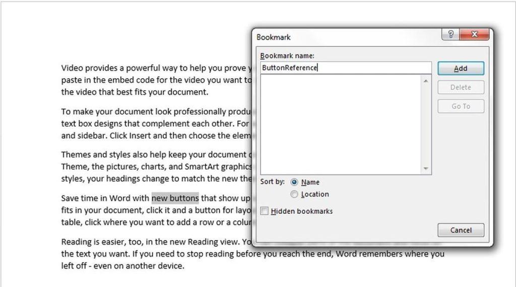 crear marcador Word 2