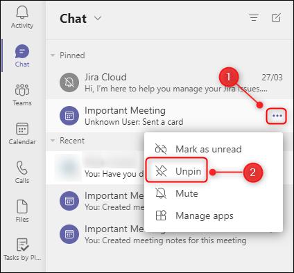 Podemos desanclar cualquier chat. De esta manera podemos ocultar o anclar conversaciones Teams